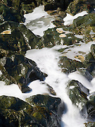 Waves crash on sea-side rocks, slowly carving the rock and creating beautiful sculptures.