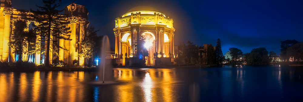 Located in the Marina District adjacent to Crissy Field, the Palace of Fine Arts is the only remnant of the magnificent World's Fair of 1915; The Panama-Pacific International Exposition. The World's Fair was a crowning achievement for the city of San Francisco, whose citizens had succeeded in almost completely rebuilding their city not even 10 years after the great earthquake of 1906 that turned over 75 percent of the city to rubble and ash. <br /> <br /> Built of cheap, temporary  materials for the sole purpose of the World's Fair, the palace was spared demolition after the fair and was in partial ruin by the 1960's. Conservation efforts succeeded in raising the necessary funds to demolish and rebuild the landmark to make it a permanent feature of the city skyline and culture.