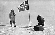 Raold Engelbrecht Gravning Amundsen (1872-1928). Norwegian explorer. First to navigate the Northwest Passage (1918) Taking sights at South Pole which he reached in December 1911, one month before Scott