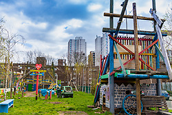 Across the road from the development is the Lollard Road Adventure Playground, accessible to children of all backgrounds. Social housing residents are up in arms after having their children forbidden from using a play area overlooked by their homes as it is said to be only available to the children of those who have bought properties at the new Baylis Old School housing development in Lambeth, South London . London, March 26 2019.