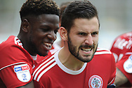 Accrington Stanley Defender, Séamus Conneely (28) scores to make it 1-1 goal celebration during the EFL Sky Bet League 1 match between Accrington Stanley and Scunthorpe United at the Fraser Eagle Stadium, Accrington, England on 1 September 2018.