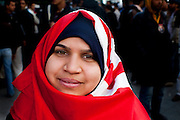 Tunis, Tunisia. January 26th 2011.One of the young protesters who demand the removal of Mohammed Ghannouchi and members of the ousted president's regime (Zine El Abidine Ben Ali) still in the the government. .....