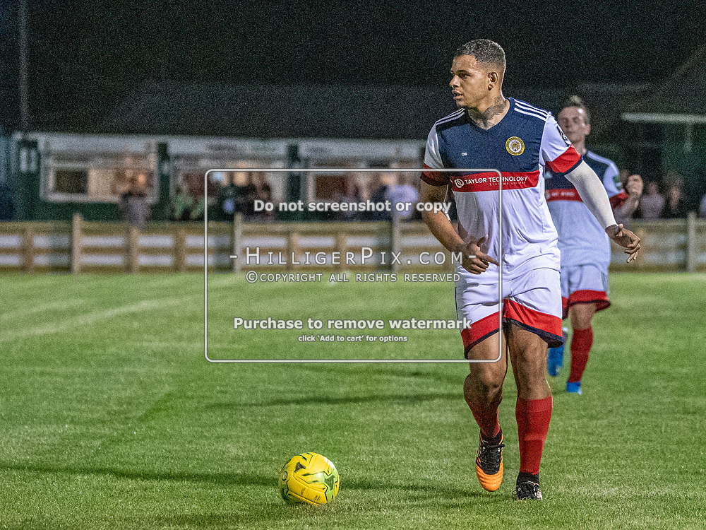 DARTFORD, UK - AUGUST 01: Aaron Rhule, of Cray Wanderers FC, looks to cross during the pre-season friendly match between Phoenix Sports FC and Cray Wanderers FC at The Mayplace Ground on August 1, 2019 in Dartford, UK. <br /> (Photo: Jon Hilliger)