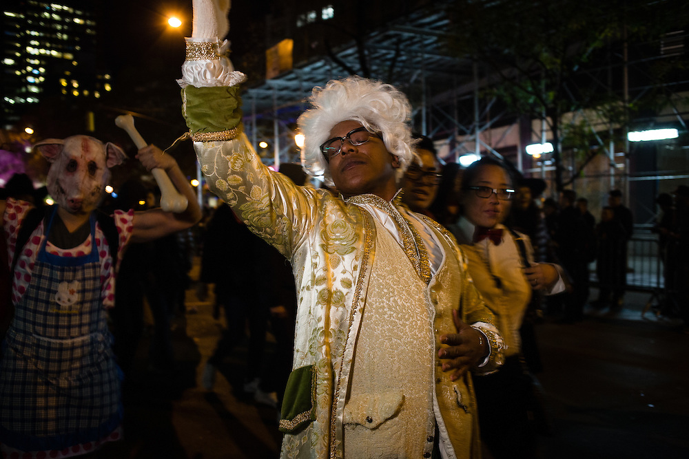 New York, NY - 31 October 2016. An African-American man costumed as Alexander Hamilton  in the Greenwich Village Halloween Parade.