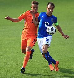 Italy U17's  Alessio Riccardi and Netherlands U17's Liam Van Gelderen
