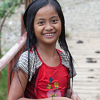 A Girl after jumping in a small river in Vang Vieng.