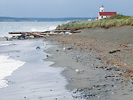 Point Wilson Lighthouse at Fort Warden State Park, on Admiralty Inlet, Puget Sound, Port Townsend, Washington, USA