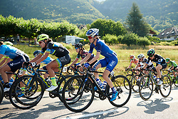 Katie Hall (USA) on the first climb at La Course by Le Tour de France 2018, a 112.5 km road race from Annecy to Le Grand Bornand, France on July 17, 2018. Photo by Sean Robinson/velofocus.com