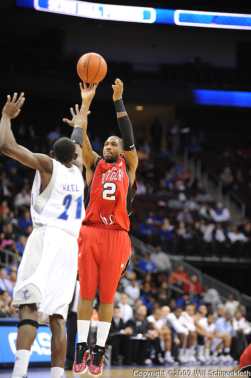 Jan 29, 2009; Newark, NJ, USA; Rutgers guard Anthony Farmer (2) shoots over Seton Hall guard Jeremy Hazell (21) during the second half of Seton Hall's 70-67 victory at the Prudential Center.
