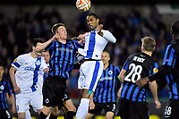 Fotball<br /> 16.04.2015<br /> Foto: PhotoNews/Digitalsport<br /> NORWAY ONLY<br /> <br /> Douglas, defender of FC Dnipro heads the ball in front of Mechele Brandon defender of Club Brugge during the UEFA Europa League, Quarter-finals, first leg match between Club Brugge and FC Dnipro Dnipropetrovsk at the Jan Breydel stadium in Bruges, Belgium.