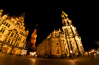 Hausmann Tower (center) and Hofkirche (Dresden Cathedral) on right, Dresden, Saxony, Germany