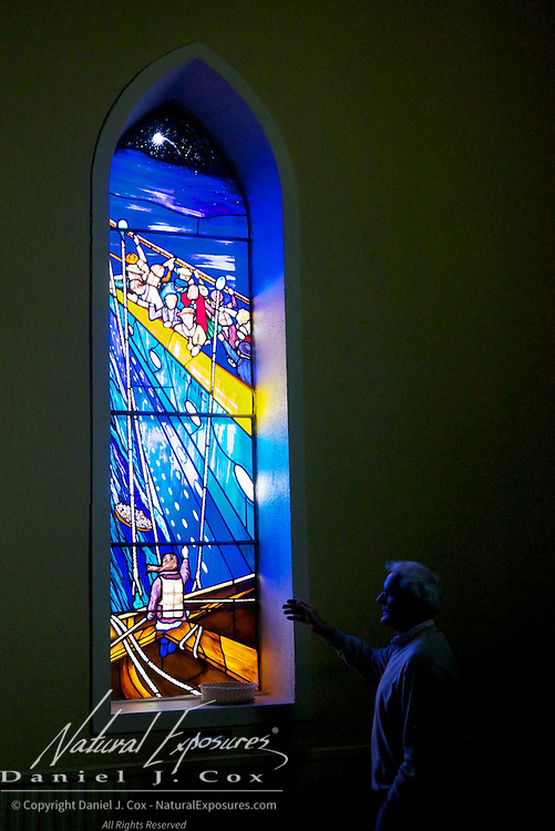 """Tom Canavan the nephew of Pat Canavan who was lost aboard the Titanic, describes the stained glass window known as the """"Titanic Rescue"""" that shines on the parishioners of  St. Patricks's Church in Lahardane, Ireland."""