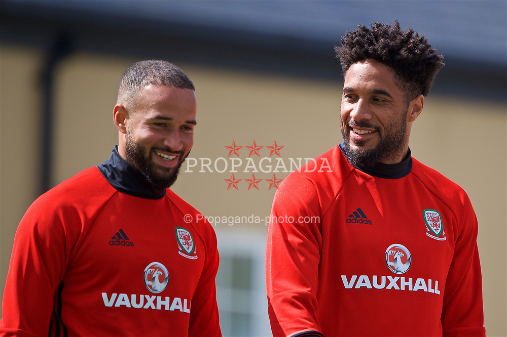 CARDIFF, WALES - Wednesday, June 7, 2017: Wales' Ashley 'Jazz' Richards [L] and captain Ashley Williams [R] during a training session at the Vale Resort ahead of the 2018 FIFA World Cup Qualifying Group D match against Serbia. (Pic by David Rawcliffe/Propaganda)
