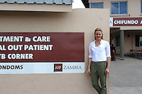 Gabby Logan outside Chaisa Clinic in Lusaka, Zambia on Wednesday 12 November 2014.