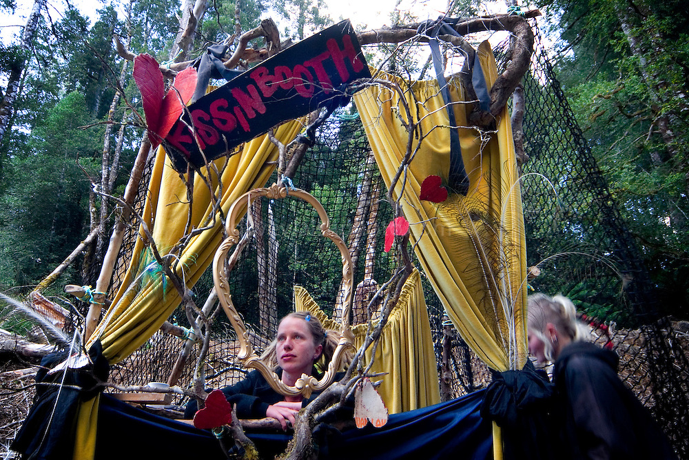Forest activist running the kissing booth - a novel method of fundraising, at the at the Upper Florentine party, Tasmania.  Protestors have blocked the forest access road made by contractors for Forestry Tasmania, in order to stop the logging of old growth forest in what is potentially a World Heritage Area...