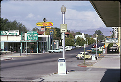 """Boulder City, Nevada as seen on a 1973 Road Trip. The main drag in town. """"Sound of Music"""" on marquee as the film playing The Boulder Theater. Nikon Ftn Camera, 125th f/8 1/3 105mm f/2.5 lens, Kodachrome II."""