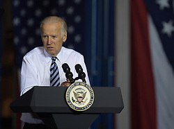 October 24, 2016 - Dayton, Ohio, U.S. - US Vice President Joe Biden addresses the crowd at a campaign rally for democratic Presidential nominee Hillary Clinton in Dayton, Ohio, Monday, October 24, 2016 (Credit Image: © Bryan Woolston via ZUMA Wire)