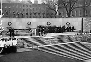 11/04/1966<br /> 04/11/1966<br /> 11 April 1966<br /> 1916 Jubilee Commemorations- Opening and Blessing Ceremony at the Garden of Remembrance, Parnell Square, Dublin. Image shows President Eamon de Valera laying a wreath at the ceremony.