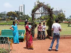 Family at the Hanging Gardens or Ferozeshah Mehta park, Mumbai.