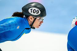 Madina Zhanbusinova of Kazachstan in action on 1500 meter during ISU World Short Track speed skating Championships on March 05, 2021 in Dordrecht