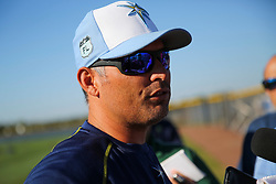 March 20, 2017 - Port Charlotte, Florida, U.S. - WILL VRAGOVIC   |   Times.Tampa Bay Rays manager Kevin Cash (16) talks with reporters after a press conference announcing the six-year, $53.5 million deal for Kevin Kiermaier at Charlotte Sports Park in Port Charlotte, Fla. on Friday, March 17, 2017. (Credit Image: © Will Vragovic/Tampa Bay Times via ZUMA Wire)
