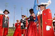 Belgian Crown Prince Filip and Dutch Queen Beatrix attend the 100 years' jubilee of the Old Limburgs Citizens Soldiers in Stramproy, in southern Netherlands near the Belgian border.<br /> <br /> Hare Majesteit de Koningin en Zijne Koninklijke Hoogheid Prins Filip van België bezoeken het 100-jarig jubileum van  het Oud Limburgs Schuttersfeest in Stramproy. Honderd jaar geleden vond voor het eerst een schuttersevenement plaats onder de naam Oud Limburgs Schuttersfeest. Het is een jaarlijks evenement waaraan ruim 160 schutterijen uit zowel Nederlands als Belgisch Limburg deelnemen. <br /> <br /> On the photo / Op de foto: <br /> <br />  <br /> Members of the Citzen Solders / Leden van de Schutterijen