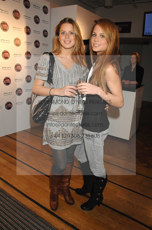 Left to right, sisters LYDIA FORTE and IRENE FORTE at a party to celebrate the launch of the new Fiat 500 car held at the London Eye, Westminster Bridge Road, London on 21st January 2008.<br /><br />NON EXCLUSIVE - WORLD RIGHTS (EMBARGOED FOR PUBLICATION IN UK MAGAZINES UNTIL 1 MONTH AFTER CREATE DATE AND TIME) www.donfeatures.com  +44 (0) 7092 235465