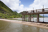 Dike along Co Hoi Lake protects farmlands from floods in Yen Mo District, Ninh Binh Province, Vietnam, Southeast Asia