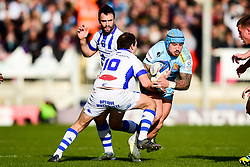 Jack Nowell of Exeter Chiefs is tackled by Benjamin Urdapilleta of Castres Olympique - Mandatory by-line: Ryan Hiscott/JMP - 13/01/2019 - RUGBY - Sandy Park Stadium - Exeter, England - Exeter Chiefs v Castres - Heineken Champions Cup