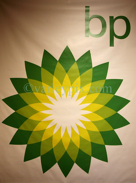 06 June 2010. Jean Lafitte, Louisiana. <br /> A giant BP logo on the wall at BP's community outreach center housed in the Jean Lafitte town hall. Ironically there was nobody from BP to speak with at the center. The ecological and economic impact of BP's oil spill is devastating to the region. Oil from the Deepwater Horizon catastrophe is evading booms laid out to stop it thanks in part to the dispersants which means the oil travels at every depth of the Gulf and washes ashore wherever the current carries it. The Louisiana wetlands produce over 30% of America's seafood and are the most fertile of their kind in the world.<br /> Photo; Charlie Varley/varleypix.com