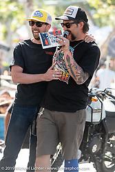 Invited builder Dave Barker won Best Panhead for his custom 1949 Harley-Davidson chopper at theBorn Free chopper show. Silverado, CA. USA. Sunday June 24, 2018. Photography ©2018 Michael Lichter.