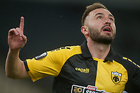 ATHENS, GREECE - OCTOBER 29: Muamer Tankovicof AEK Athens celebrates his own goal during the UEFA Europa League Group G stage match between AEK Athens and Leicester City at Athens Olympic Stadium on October 29, 2020 in Athens, Greece.(Photo by MB Media)