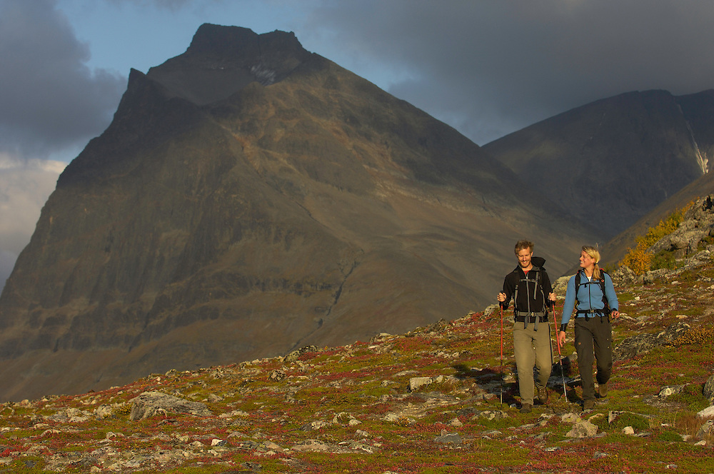 Ecotourists hiking, Lapland, Sweden