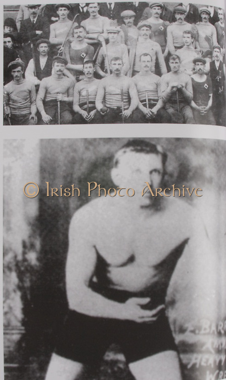"""Top: Tipperary (Two Mile Boris)- All-Ireland Hurling Champions 1900. Back Row: James Brown, John Walsh, Mick Purcell, Billy Maher, Mike Wall, """"Little Bill"""" Gleeson, Tommy Ryan, James O'Keeffe. Middle Row: J Stapleton, """"Big Bill"""" Gleeson, Paddy Hayes, Tom Semple, Jack Maher (the field), Tom Cantwell. Front Row: T Nally, M Ryan, N Maher, """"Big"""" Mikey Maher, P Maher """"Best"""", Jack Gleeson, J McCarthy (Kilkenny, the referee with whistle on jacket), Denis O'Keeffe. .Bottom: Ed Barrett has the unique distinction of being the only All-Ireland medal holder to have an Olympic medal. Big Ned was on the London team that sensationally beat Cork in 1901. In the 1908 Olympics in London he won a gold medal with the London Police tug-of-war team. He also won a silver Olympic Medal in wrestling. His brother James was also a great athlete and won the Irish and British AAA shotpug titles in 1911 and 1923."""