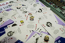 A pack of playing cards with politicians on at the Ukip annual conference, Bournemouth.