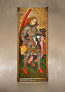 Gothic altarpiece of Archangel Michael ( Sant Miguel Arcangel) by Blasco de Branen of Saragossa, circa 1435-1445 , tempera and gold leaf on for wood.  National Museum of Catalan Art, Barcelona, Spain, inv no: MNAC   114741. Against a art background. . .<br /> <br /> If you prefer you can also buy from our ALAMY PHOTO LIBRARY  Collection visit : https://www.alamy.com/portfolio/paul-williams-funkystock/gothic-art-antiquities.html  Type -     MANAC    - into the LOWER SEARCH WITHIN GALLERY box. Refine search by adding background colour, place, museum etc<br /> <br /> Visit our MEDIEVAL GOTHIC ART PHOTO COLLECTIONS for more   photos  to download or buy as prints https://funkystock.photoshelter.com/gallery-collection/Medieval-Gothic-Art-Antiquities-Historic-Sites-Pictures-Images-of/C0000gZ8POl_DCqE