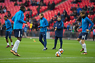 Spurs players warming up during the The FA Cup 3rd round match between Tottenham Hotspur and AFC Wimbledon at Wembley Stadium, London, England on 7 January 2018. Photo by Robin Pope.