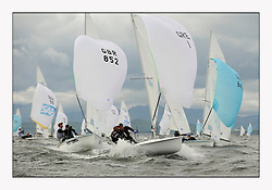 470 Class European Championships Largs - Day 3.Brighter conditions with more wind...GBR852, Philip SPARKS, David KOHLER,  RLYC and GRE1, Antonis TSIMPOUKELIS, Pavlos KAGIALIS