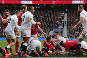 George North of Wales and Owen Farrell of England get involved in an altercation during the Guinness Six Nations between England and Wales at Twickenham Stadium, Saturday, March 7, 2020, in London, United Kingdom. (Mitchell Gunn-ESPA-Images/Image of Sport)