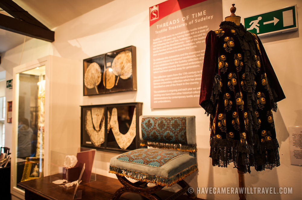 An exhibit of textiles at Sudely Castle. Sudeley Castle dates back to the 15th century, although an even older castle might have once been on the same site. It was the final home and burial place of King Henry VIII's last wife, Queen Catherine Parr (c. 1512-1548).