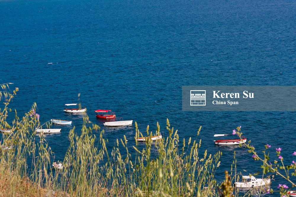 Canoes on Lake Ohrid, UNESCO World Heritage, Republic of Macedonia