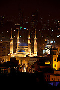 The evening skyline, showing the illuminated Mohammad Al-Amin Mosque at Martyrs Square and the Clocktower at Place d'Etoile in Beirut, Lebanon