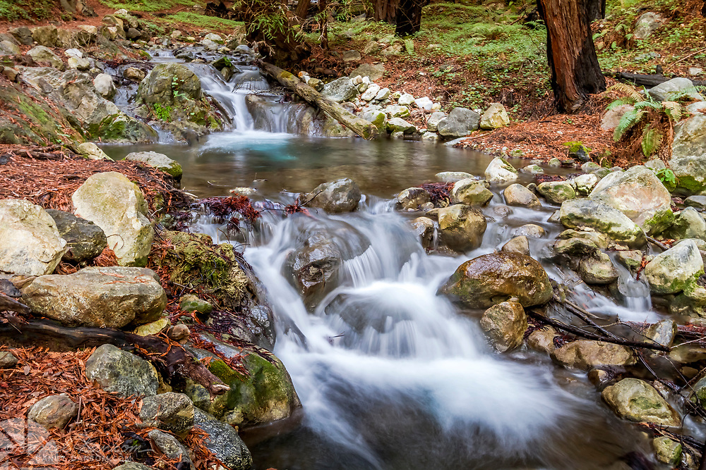 Limekiln Creek, cascading water steps, on the Big Sur Coast, Highway 1, California