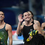 TOKYO, JAPAN - JULY 25: The Australian team of Bronte Campbell, Cate Campbell, Meg Harris and Emma Mckeon after the Australian teams gold medal world record performance in the 4 x 100m Freestyle Relay for women during the Swimming Finals at the Tokyo Aquatic Centre at the Tokyo 2020 Summer Olympic Games on July 25, 2021 in Tokyo, Japan. (Photo by Tim Clayton/Corbis via Getty Images)