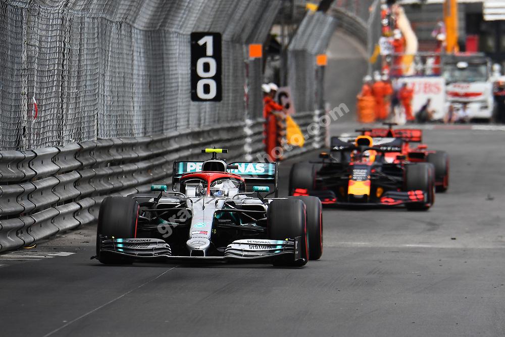 Valtteri Bottas (Mercedes) in front of Max Verstappen (Red Bull-Honda) and Sebastian Vettel (Ferrari) during the 2019 Monaco Grand Prix. Photo: Grand Prix Photo