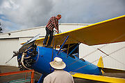 Fueling the Stearman 70, prototype of the famous PT-13 and PT-17.