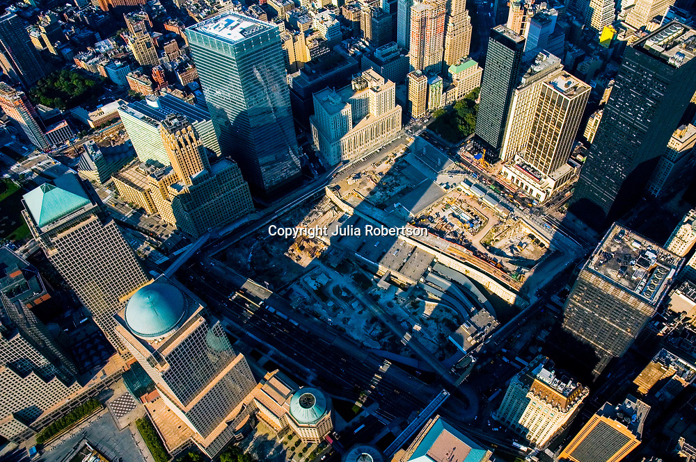 Aerial view of World Trade Center site under construction, with World Financial Center in distance, NY NY