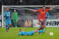 Thu., Feb. 14, 2013, Russia, St. Petersburg. .Zenit St. Petersburg's Alexander Anyukov, left, against Liverpool's Jose Enrique, right, in the UEFA Europa League's last 32 match..Kommersant Photo/Alexander Petrosyan