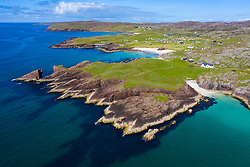 Aerial view of beaches and cliffs at Clachtoll in Sutherland,  Highland Region of Scotland, UK