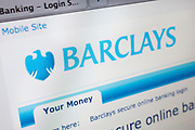 Computer screen showing the website for Barclays Bank online banking.